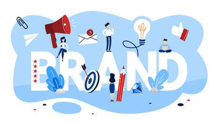 Concetto di marca. Design unico di un'azienda. Riconoscimento del marchio come parte della strategia di marketing. Illustrazione piana di vettore isolato