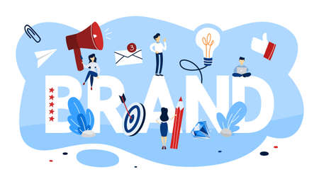 Brand concept. Unique design of a company. Brand recognition as a part of marketing strategy. Isolated vector flat illustration
