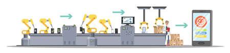 Processus de production de smartphones sur la ligne de machines automatisées avec des mains robotisées. Usine de téléphonie mobile. Illustration plate isolée Vecteurs