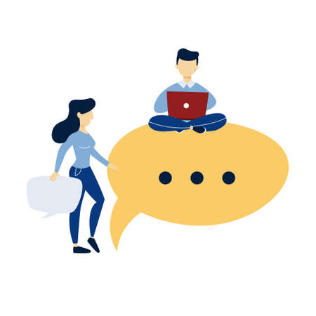 Communication concept.. Dialog betwen man and woman with speech bubbles. Communication and business conversation. Isolated flat vector illustration Illusztráció