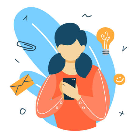 Social media concept. Global communication, sharing content and getting feedback. Woman chatting with friends using smartphone. Marketing strategy. Flat vector illustration 일러스트
