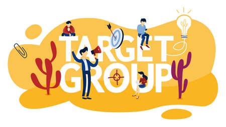 Target group concept . Audience identifying, data gathering, segmentation and advertising. Idea of marketing strategy and customer engagement. Isolated flat vector illustration