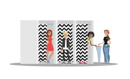 Clients dans la cabine d'essayage du magasin de vêtements. Les gens se tiennent derrière le rideau et essaient des vêtements de mode. Télévision illustration vectorielle
