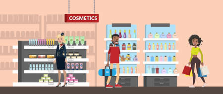 Duty free interior in the airport building. People buying cheap cosmetics and perfume. Tax free. Vector flat illustration Vektorgrafik