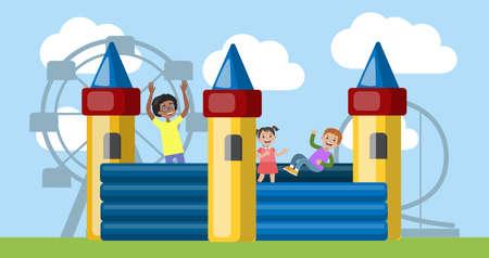 Los niños juegan en el castillo hinchable en el parque de atracciones. Ilustración de vector