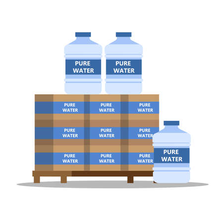 Bottled pure water for coolers. Big plastic bottles with mineral water. Boxes with liquid. Isolated flat vector illustration