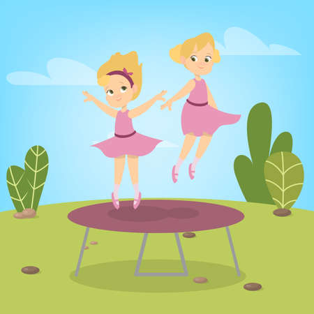 Little girls in dresses jumping on trampoline. Summer activity. Happy kids having fun. Vector illustration in cartoon style Vettoriali