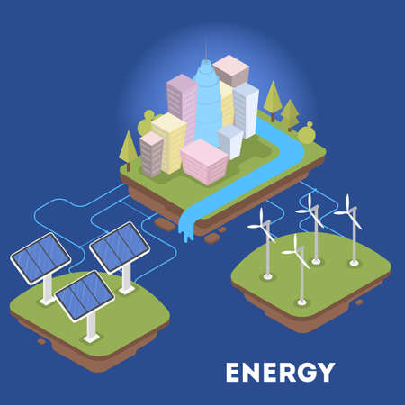Green or alternative energy for city. Solar panel and wind turbines. Eco friendly town. Isolated vector isometric illustration
