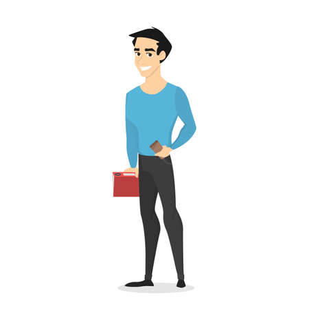 Young handsome male character standing in the blue sweater and black jeans with coffee and book. Front view of a man in casual clothes. Isolated vector illustration in cartoon style