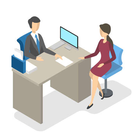 Bank manager in the office with client. Agent talking with woman about finance. Isolated vector isometric illustration Vector Illustration