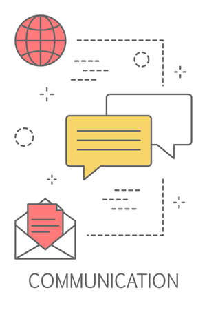 Communication concept. Idea of modern global technology. Chatting through app. Line icon set with speech bubble and envelope. Isolated line vector illustration