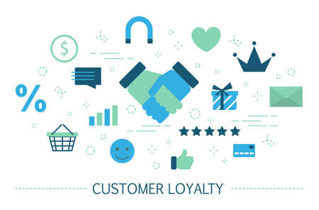 Customer retention or loyalty concept. Attract clients and build relationships. Business strategy. Set of colorful icons. Isolated flat vector illustration Vektoros illusztráció