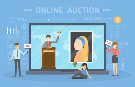 Online auction concept. Taking action in auction through the digital device. Bid and buy art online. Flat vector illustration