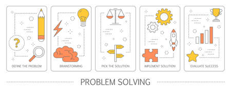 Set of problem solving steps vertical banners. Brainstorm ad find the solution. Goal achievemnt and success. Isolated flat vector illustration