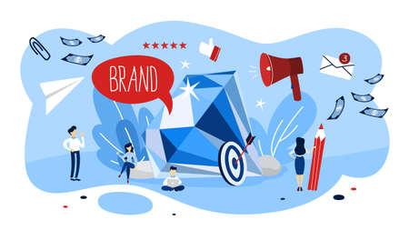 Concetto di marca. Design unico di un'azienda. Riconoscimento del marchio come parte della strategia di marketing. Illustrazione piana di vettore isolato Vettoriali