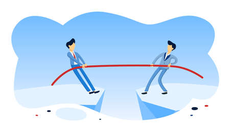 Business people pull rope. Idea of business competition. Leaders struggle for success. Flat vector illustration