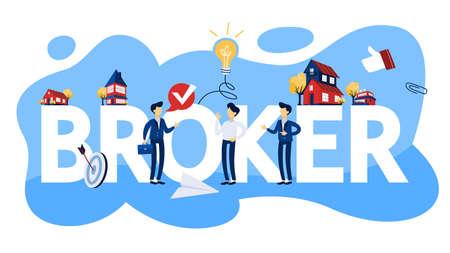 Business broker concept illustration. Real estate agent.
