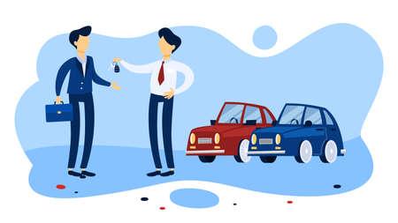 Uomo d'affari che acquista una nuova auto in salone. Venditore che consegna le chiavi all'acquirente. Illustrazione vettoriale piatto isolato Vettoriali