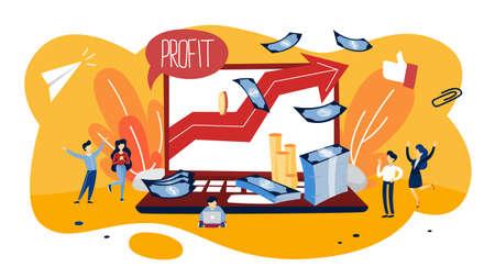 Ilustración del concepto de beneficio. Idea de crecimiento y mejora. Aumentan las ventas y hacen dinero. Exito financiero. Ilustración vectorial plana