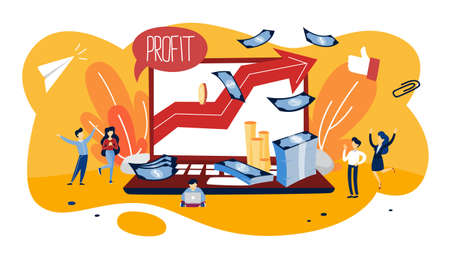 Profit concept illustration. Idea of growth and improvement. Sales increase and money making. Financial success. Flat vector illustration