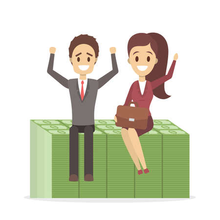 Happy businessman and business woman sitting on the huge pile of green banknotes. Idea of financial growth and success. Isolated flat vector illustration