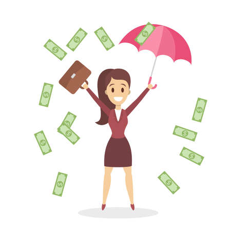 Happy business woman jumping surrounded by falling down money. Idea of business success. Win money in lottery. Isolated flat vector illustration