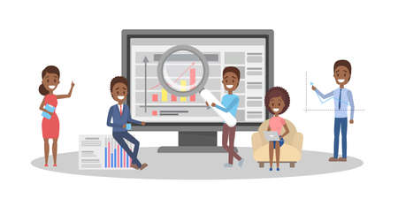 African american people making business analysis. Idea of teamwork and leadership. Little workers making research on the laptop computer. Business planning. Isolated vector illustration Иллюстрация