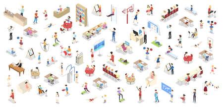 Children study in the school set isometric  イラスト・ベクター素材