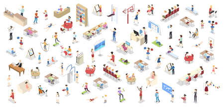 Children study in the school set isometric Illustration