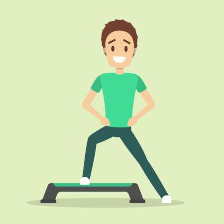 Człowiek robi ćwiczenia na kroku. Trening cardio i aerobik. Zdrowy styl życia i kulturystyka. Ilustracja na białym tle płaski wektor