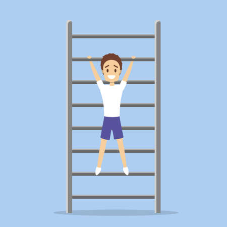 Man doing pull-up exercise in the gym. Arm workout. Physical health and activity. Flat vector illustration Illustration