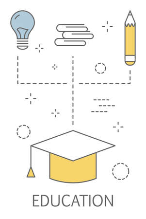 Education concept. Idea of learning and knowledge. Study online. Set of icons with graduation cap and light bulb. Isolated flat vector illustration Illustration