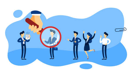 Recruiter concept. Group of people choosing a candidate to hire with magnifying glass. Human resources management. Flat line vector illustration
