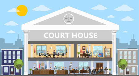 Court building interior with courtroom and offices. Trial process with judge, jury and suspect. Vector flat illustration