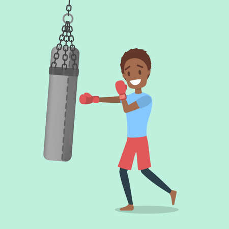 Man with red gloves boxing with punching bag. Sport and fitness. Healthy active lifestyle. Flat vector illustration