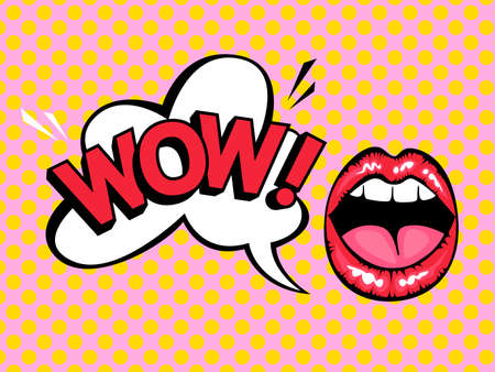 Open mouth with speech bubble saying wow