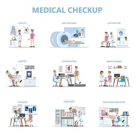 Full medical checkup set with patient and doctors vector set