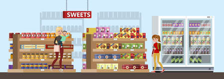 Duty free interior in the airport building. People buying cheap sweets, chocolate and drinks. Tax free. Vector flat illustration