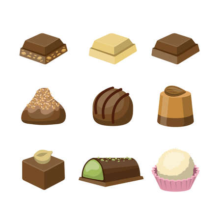 Set of different tasty delicious chocolate sweets. Dessert for coffee. Isolated vector flat illustration