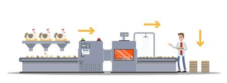 Hühnerei-Fabrik. Eierproduktion auf der automatisierten Maschinenlinie. Henne auf dem Förderband. Isolierte flache Vektorgrafik