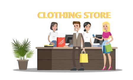 Persone felici in piedi al bancone del negozio di abbigliamento e vestiti. Bella cassiera nella boutique di moda. Vector piatta illustrazione Vettoriali