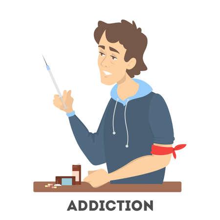 Adicción a la droga. Drogadicto enfermo con una jeringa y pastillas médicas. Peligro para la salud. Ilustración de vector de estilo de dibujos animados.