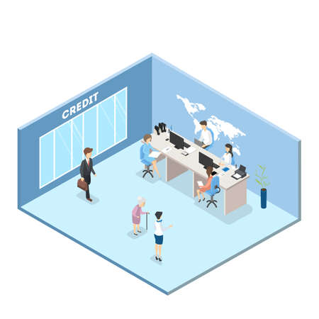 People at the credit department. Clients sitting in the bank and making financial operations. Isolated vector isometric illustration