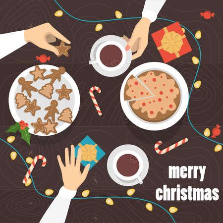 Les gens boivent du thé et du café avec du pain d'épice à la vue de dessus de table de Noël. Cadeaux et bonbons sur la table. Illustration vectorielle isolée