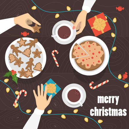 People drinking tea and coffee with gingerbread at the christmas table top view. Presents and sweets on the table. Isolated vector illustration