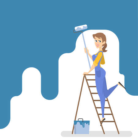 Female worker painting the wall with blue paint and roller. Smiling woman decorating room. Isolated vector illustration in cartoon style Vector Illustration