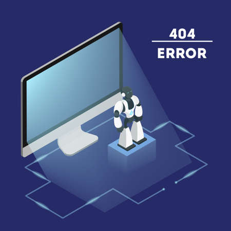 404 error page not found concept. Flat vector illustration of internet connection problem. Fising broken website. Flat isometric vector illustration