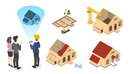 Arbeiter bauen ein großes Holzhaus mit rotem Dach. Phasen des Hausbaus. Wandmalerei und Dachkonstruktion. Isolierte isometrische Vektorillustration Vektorgrafik