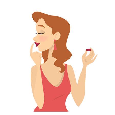 Donna che mette rossetto rosso sulle labbra. Trucco viso, bellezza e stile di vita alla moda. Illustrazione vettoriale isolato in stile cartone animato.
