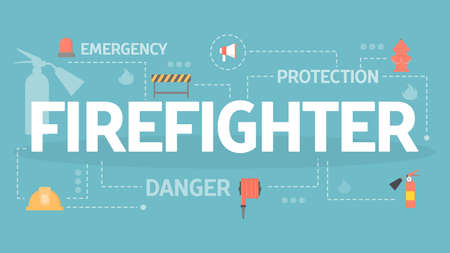 Firefighter concept. Idea of emergency and protection from danger. Set of fireman equipment. Flat vector illustration